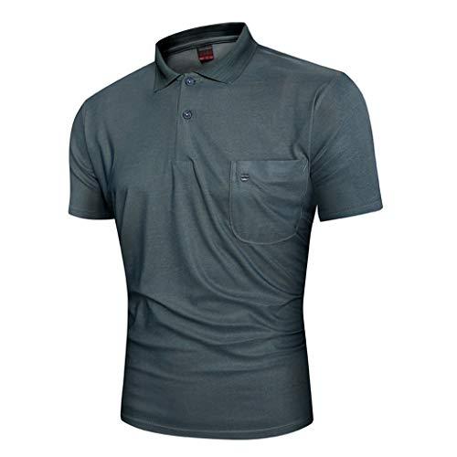 NPRADLA Herren Poloshirt Casual Sommer Slim Fit Umlegekragen Gestreifter  Print Kurzarm Tasche Button Man Tops Bluse