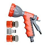 #1: Wonderland Eagle 8 pattern hand spray gun with converter and tap adapter for watering plants, washing car, car wash, cleaning, garden, balcony watering, pressure gun