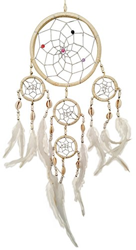dig gestaltet mit ECHTEN MUSCHELN und Federn in beige / creme (Dreamcatcher / Mobile) - 5 Ringe in 3 größen (11,5cm / 5cm / 4cm) - ca 35 cm Länge - Ringe creme (Einzigartige Traumfänger)