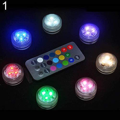 Kalaokei Aquarium Light , Fernbedienung Farbwechsel Runde Aquarium LED Light Tauch Aquarium Lampe Mehrfarbig 20-Tasten - Tasten Case Pack