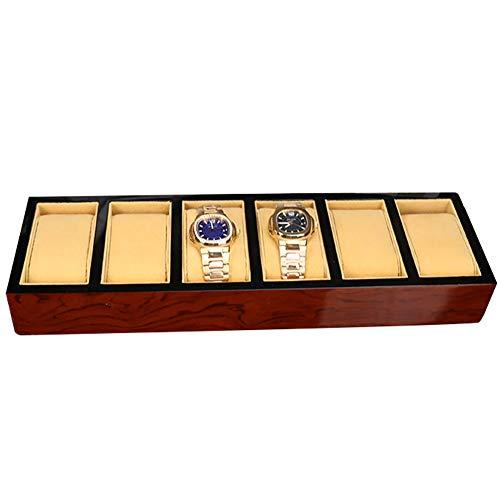 Bling Uhrenkasten-Kasten-Anzeige für Männer 6 Schlitz-Organisator-Speicher hölzernes Rot (Aufbewahrung Cube Kommode)
