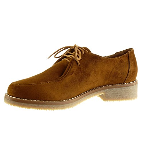 Angkorly - damen Schuhe Derby-Schuh - Fertig Steppnähte Blockabsatz high heel 3.5 CM Camel