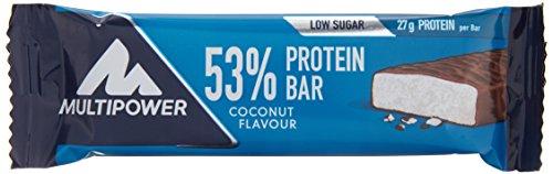 Kalorienarme Kokosnuss-wasser (Multipower 53% Protein Bar – 24 x 50 g Eiweißriegel Box – Kokos – Fitnessriegel mit 53 % hochwertigem Protein – 27 g Eiweiß pro Proteinriegel)