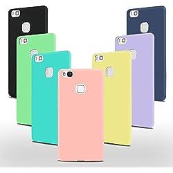 7 x Coque Huawei P9 Lite Silicone, SpiritSun Etui Coque TPU Slim Bumper Souple Housse de Protection Flexible Case Couverture Mince Légère Silicone Cover Rose Noir Jaune Bleu Violet Vert Bleu Marin