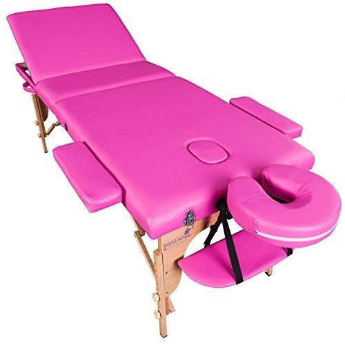 Massage imperial® chalfont - lettino da massaggio portatile pro luxe - 3 zone - pannelli reiki - leggera - colore : rosa