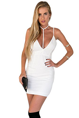 Damen Sexy Weiß Rückenfrei T-Bar Entwurf Sexy Saum Bodycon Kleider Weiß