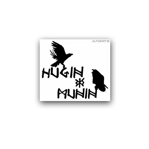 Aufkleber/Sticker -Hugin und Munin nordische Mythologie Raben Odins Hrafnáss Rabengott Wikinger Christen Fisch Symbol 8x7cm #A3107