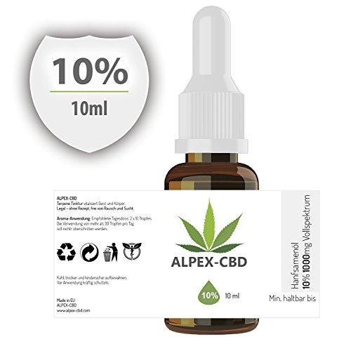 *ALPEX-Öl | 10 Prozent (10ml) in Hanfsamen-Öl | Naturbelassene Terpene Tinktur | Gutes Aroma*