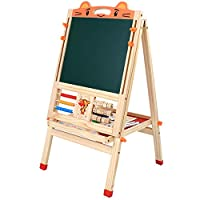 CUTEY Kids Easel for 2 Double-Sided Wooden with Adjustable Height And Stroll Paper, Standing Art Easel with Magnetic Chalkboard, Painting Easel for Children&Toddlers Gifts