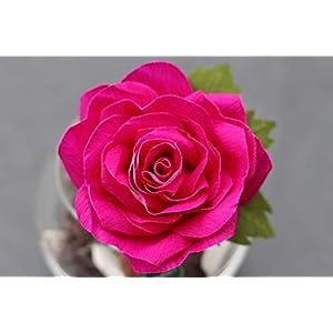 Handgefertigte Rose aus Krepppapier in Glasvase/haltbare Rose