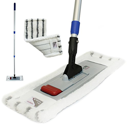 Profi Bodenwischer-Set Dual | Wischmop mit Teleskopstiel 170 cm + Microfaserbezug | frei stehender Mopp mit magnetischer Halterung für glatte und poröse Flächen | inklusive GlasRein Probe