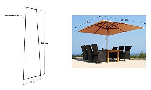 GRASEKAMP Qualität seit 1972 Schirmhülle 260x70cm Polyethylen mit Reißverschluss und Montagestab