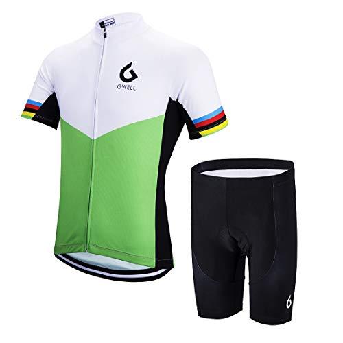GWELL Herren Radtrikot Set Fahrrad Trikot Kurzarm + Radhose mit Sitzpolster Radsport-Anzüge Grün-1 L Jacke Aus 100% Polyester