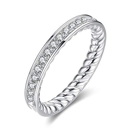 JewelryPalace Gravierte gedrehtes Seil CZ pflastern 0.3ct Zirkonia Halb Eternity Ring Channel Set Hochzeit 925 Sterlingsilber
