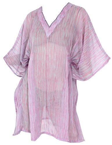 La Leela super-donne chiffon trasparente costume da bagno kimono elastico plus size costume da bagno 4 in 1 bikini coprire tunica top loungewear vestito di base caftano casuale viola