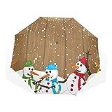 GUKENQ Regenschirm mit Buntem Schneemann, leicht, UV-Schutz, Sonnenschirm, für Herren, Frauen und Kinder, Winddicht, faltbar, kompakt