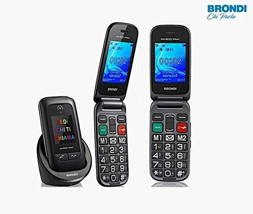 Brondi amico - telefono cellulare senior, amico sprint, con doppio schermo e tasti di risposta esterni, 2.4