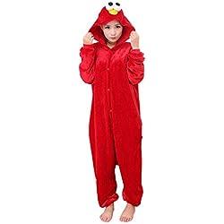 Cosplay Pijamas, Yimidear Unisexo Adulto Ropa de dormir Traje de Dormir Disfraz de Animales Kigurumi Onesie (L, Elmo)