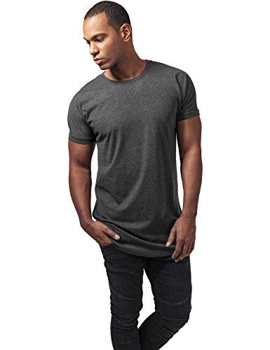 Urban Classics Herren T-Shirt Long Shaped Turnup Tee Grau (charcoal 91)