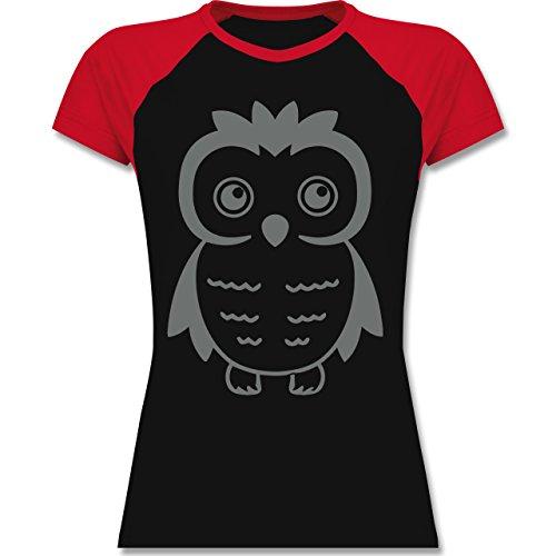 Eulen, Füchse & Co. - Eule - zweifarbiges Baseballshirt / Raglan T-Shirt für Damen Schwarz/Rot