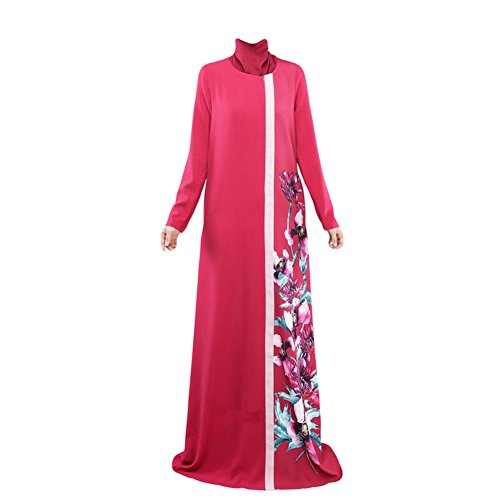 Haodasi Musulman Manche longue Print Dress Abaya Arab Robe Femme Cocktail Vêtements red