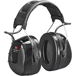 3M Peltor WorkTunes Pro Radio FM - Casque antibruit en serre-tête avec entrée MP3 - Atténuation 32 dB - 1 x casque double fonction musique/antibruit en noir