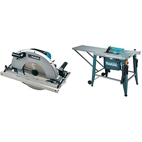 Makita 5143R Handkreissäge 2200 W + Makita 2712 Tischkreissäge 315 mm, Schwarz, Blau, 16 x 210 mm