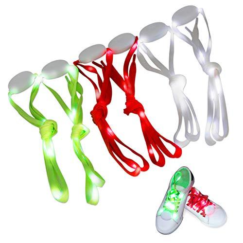 ar LED Light Up Schnürsenkel mit 3Modi für Party, Tanzen, Laufen & DIY-3Paar (blau, rot & Weiß) ()