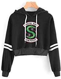 3b548a5d7a7ca SIMYJOY Sweat Riverdale imprimé Serpent Motif de South Side Pull à Capuche  Haut Court Mode Sport