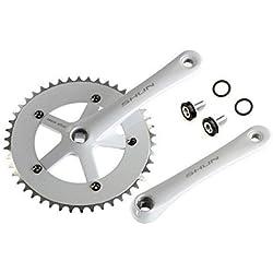 Juego de Plato y Bielas Color BLANCO de Aluminio CNC MECANIZADO para Bicicleta Fixie o Singlespeed Urbana 1V 165 mm x 46 T 3742