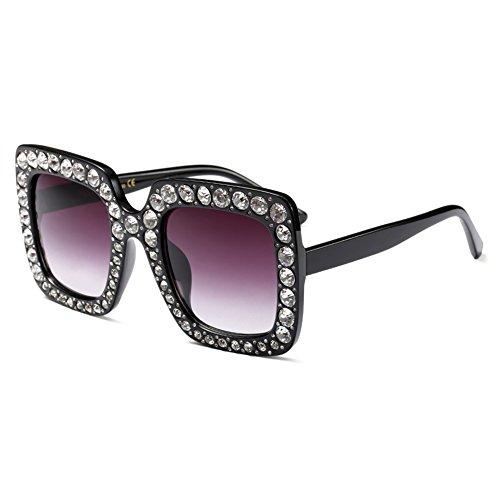 Hibote Rahmen Bling Strass Sonnenbrille Frauen übergroßen quadratischen C5