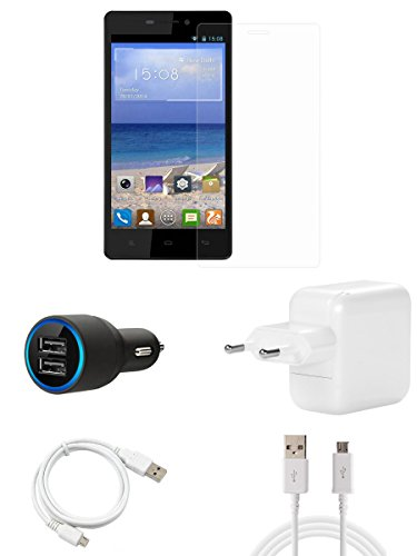 FELICITY Tempered Glass Screen Guard Screen Protector, Charger,Car Charger, USB Cable Combo for Gionee M3  available at amazon for Rs.599