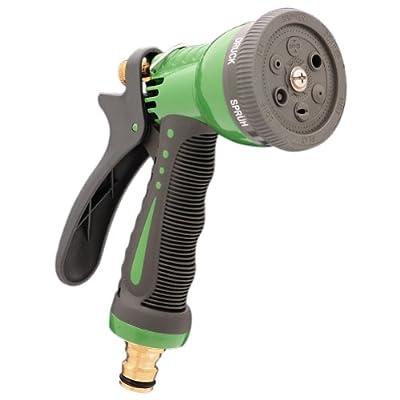 Sanifri 470010095 Garten-Handbrause aus Leichtmetall, Kunststoffbeschichtet, massive Ausführung mit Messing-Schnellkupplung, 6-fach verstellbar
