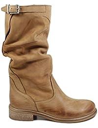 In Time Stivali Estivi Biker Boots metà Polpaccio Donna 0467 Cuoio in Vera  Pelle Nabuk Made 7688a74e015
