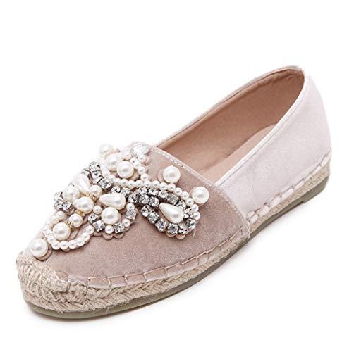 SERAPH SHOES B-880-2 Frauen Round Toe Glitter Perlen Strass Flache Schuhe Fischer Schuhe Ballerina Ballett Flache Deck Freizeitschuhe Brautschuhe,Pink,EU39 - Wildleder Deck Shoes