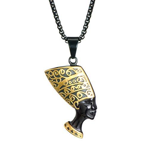 DADATU Halsketten für Herren Alte Kleopatra Nefertiti Pendants & Neckles Edelstahl Pyramide Ägyptische Königin Halsketten Für Männer Frauen Schmuck