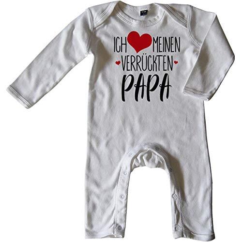 Mikalino Baby Schlafanzug Ich Liebe Meinen verrückten Papa 100% handbedruckt in Deutschland - bei 60 Grad waschbar mit Spruch, Farbe:Weiss, Grösse:6-12 Monate