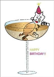 Carte de voeux anniversaire / carte d'anniversaire drôle avec un chat, qui se baigner dans un verre de Champagne: Happy Birthday!!!