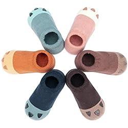 Adorel Calcetines Zapato Antideslizantes para Bebé Lote de 6 Pata de Gato 2-4 Años (Tamaño del Fabricante M)
