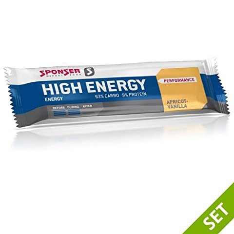 Sponser High Energy Bar 30x 45g Abricot/vanille Écran Boîte 33,33& # x20ac;/KG, 30x 15–020