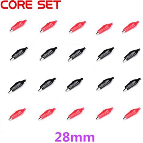 WEIWEITOE 20 stücke Metall Autobatterie Clips Krokodil Alligator Test Clamps 28mm Red & Black, Red & Black,