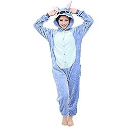 Yimidear® Unisex Cálido Pijamas para Adultos Cosplay Animales de Vestuario Ropa de dormir Halloween y Navidad(M, azul Stitch)