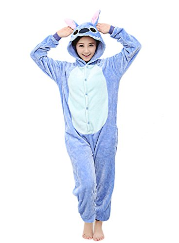 Yimidear® Unisex Pigiama Adulto Animale Cosplay Halloween Costume Attrezzatura (Blue Stitch, M)