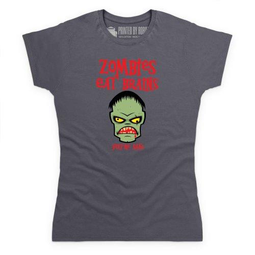 Zombies Eat Brains T-Shirt, Damen Anthrazit