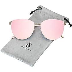 SOJOS Gafas De Sol Redonda Ojo De Gato Retra Plana Mujer Metal SJ1085 Con Marco Dorado/Lente Espejo Rosado