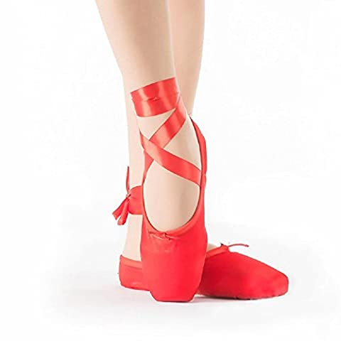 Bezioner-Shop Rose et Red Pointe Shoes Girls Ballet Flats / Pantoufle Avec Rubans et Talons (Rouge, 37)