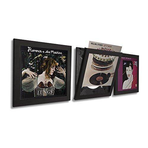 Art Vinyl Play&Display Schallplattenrahmen, Frame für Vinyl und LP Cover, dekorativer Wechselrahmen, 3er-Set schwarz - Platte Display-regal