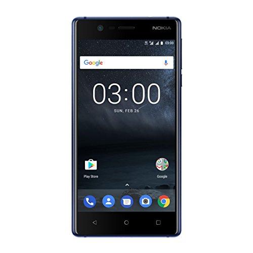 Nokia 3 DUAL SIM (12,7 cm (5 Zoll), 16GB, 8MP Kamera, Android) tempered blau
