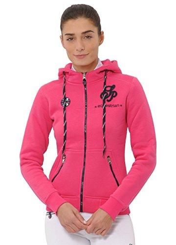 SPOOKS Damen Sweatjacke, Kapuzen-Jacke Mädchen Kinder Frauen, Zipper Hoodie - Sommerjacke Bequem & anschmiegsam Awa - Pink XL