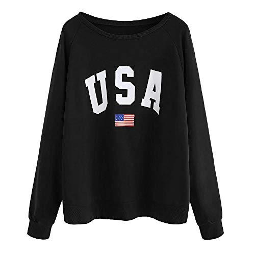MakefortuneFrauen Tops Pullover USA Brief Drucken Sport Sweatshirt Solide Langarm Hip Pop Tops Lose Bluse (Indische Decke Jacke)
